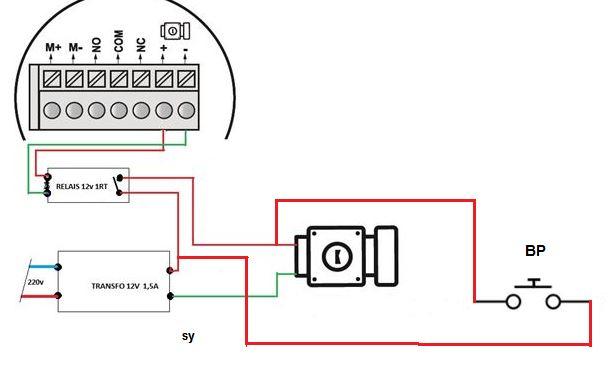 ajout bouton poussoir sur g che lectrique avec visiophone v600 avec r ponse s. Black Bedroom Furniture Sets. Home Design Ideas