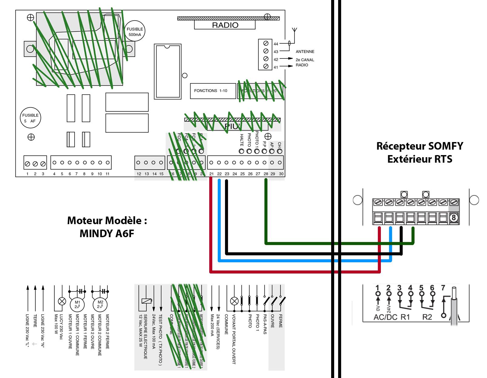branchement r cepteur ext rieur rts somfy sur motorisation de portail battant 2 vtx mindy a6f. Black Bedroom Furniture Sets. Home Design Ideas
