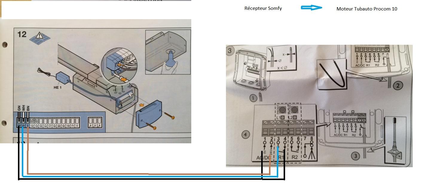 Cablage recepteur somfy moteur tubauto procom 10 avec for Programmation porte de garage tubauto
