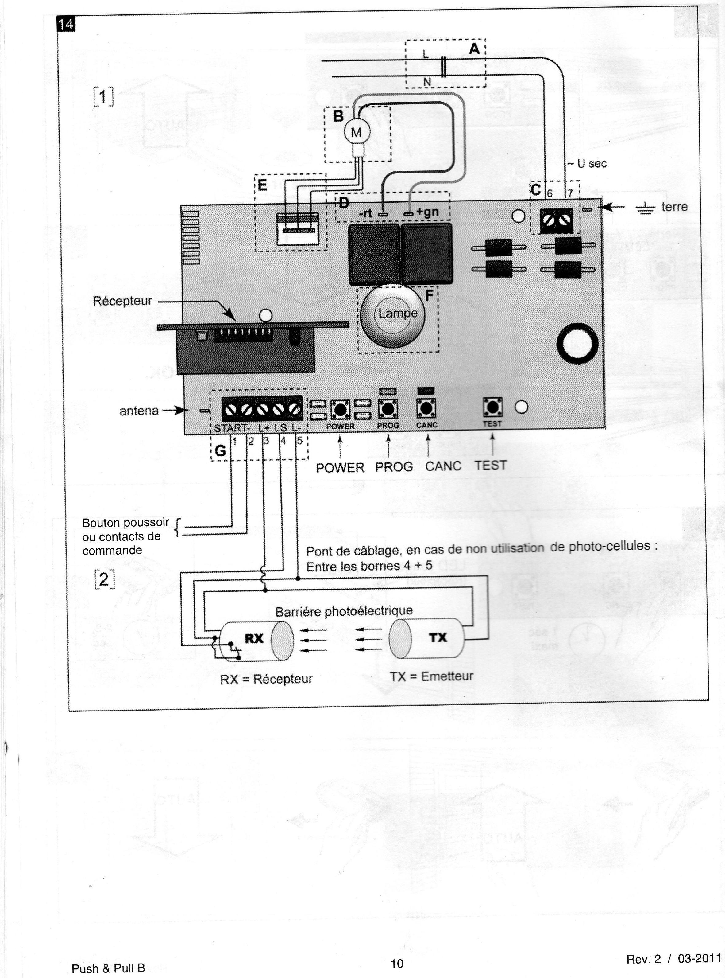 Installation radio recepteur et porte de garage r solue for Branchement porte garage electrique