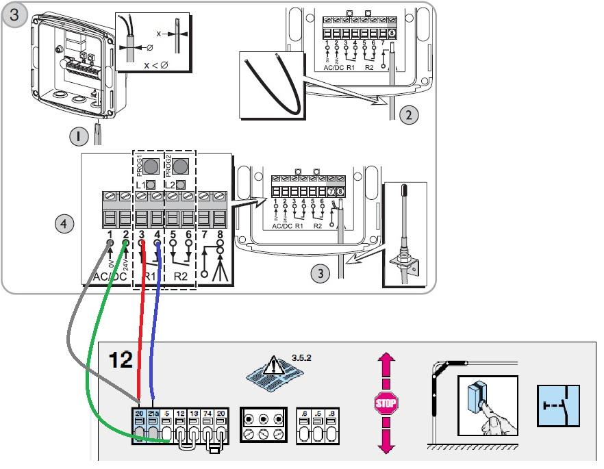 branchement recepteur rts - moteur promatic  porte de garage