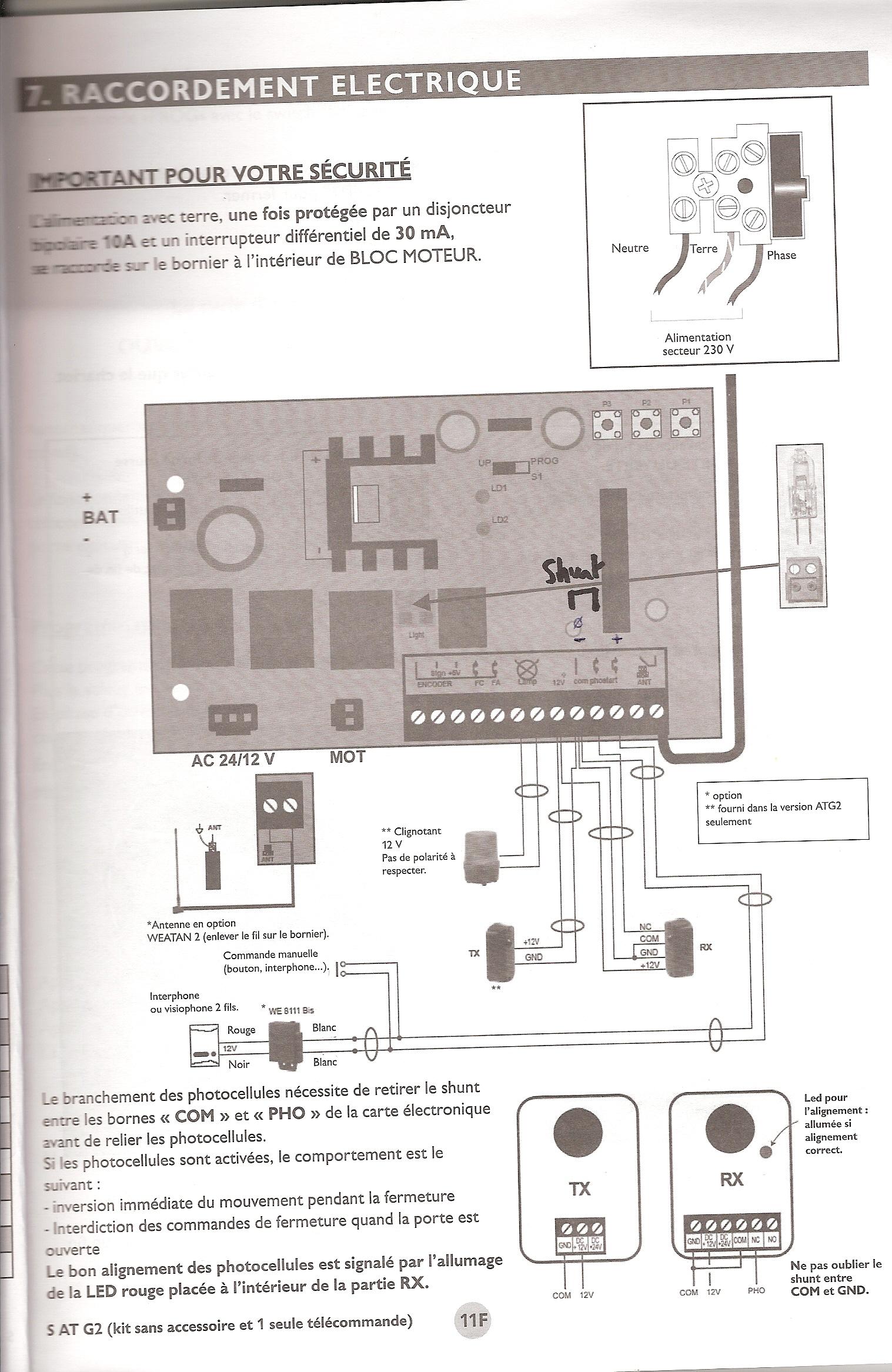 Comment brancher r cepteur universel rts somfy sur moteur porte de garage extel at g2 avec - Emetteur recepteur porte de garage ...