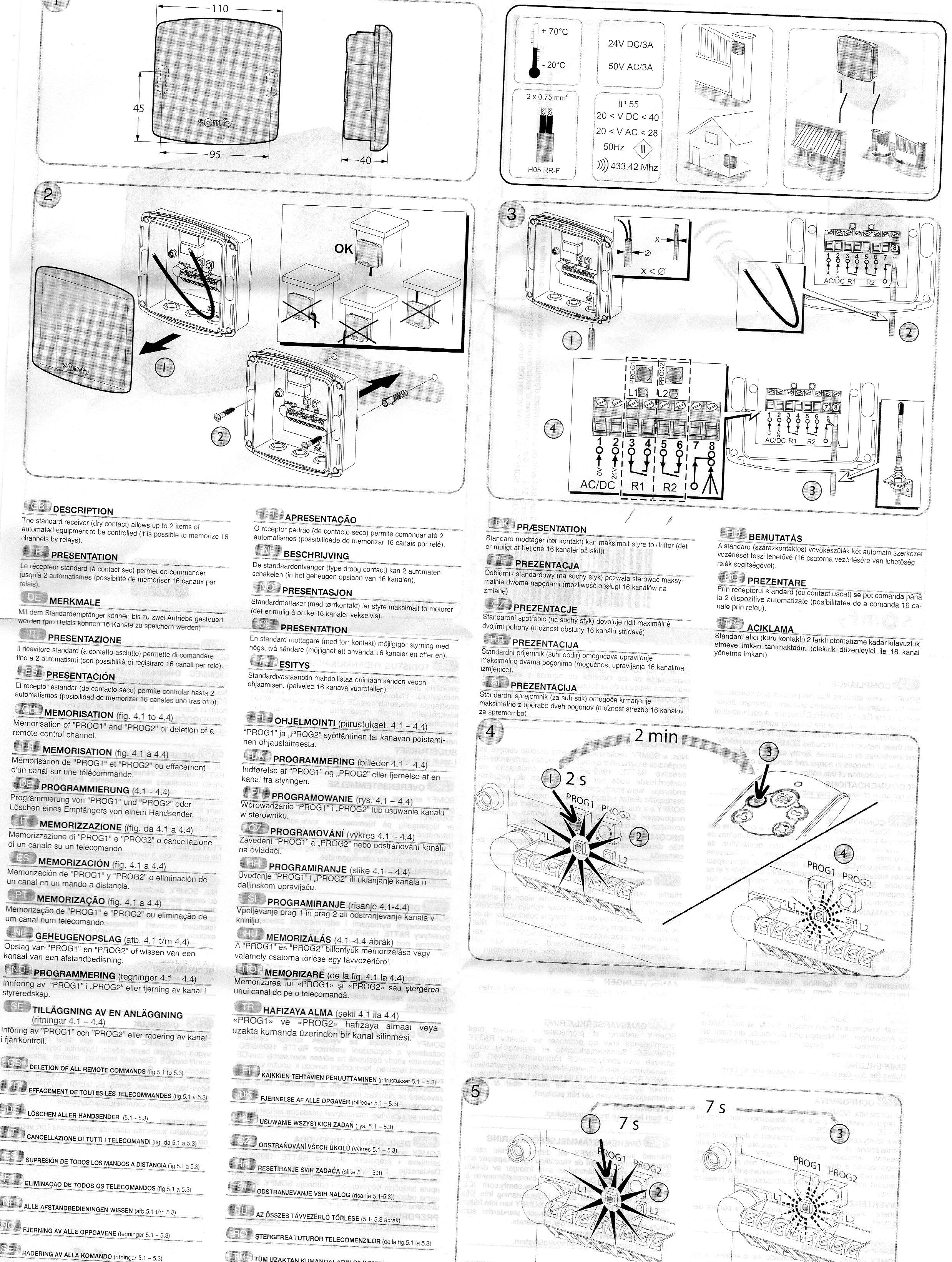 cablage recepteur radio motorisation garage avec. Black Bedroom Furniture Sets. Home Design Ideas