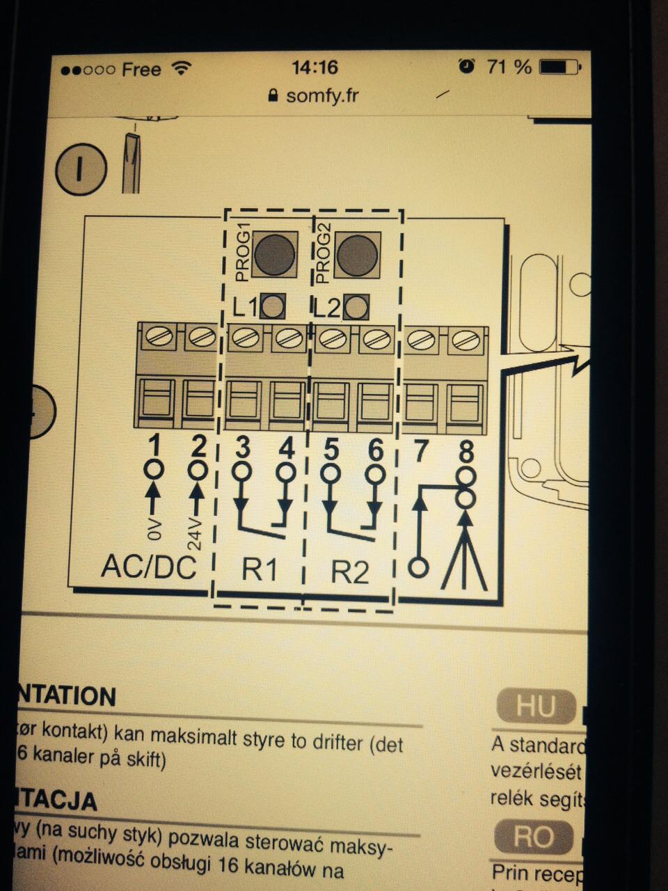 branchement d 39 un r cepteur somfy avec une carte de commande de portail cam za3 r solue. Black Bedroom Furniture Sets. Home Design Ideas