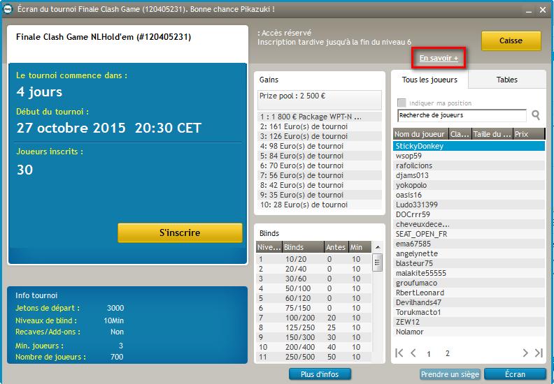 Image écran de tournoi