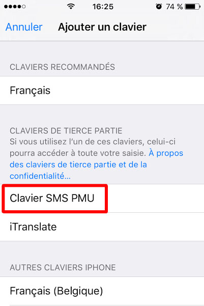 clavier sms
