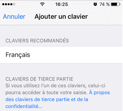 message avrtissement iphone