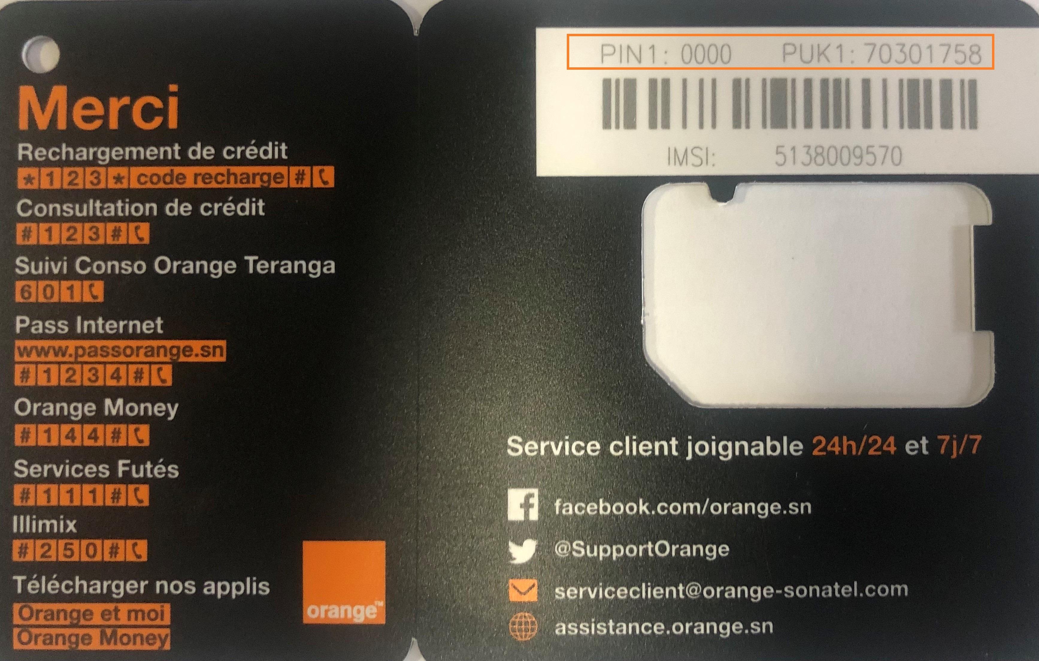 Carte Sim Orange Puce Orange 4G