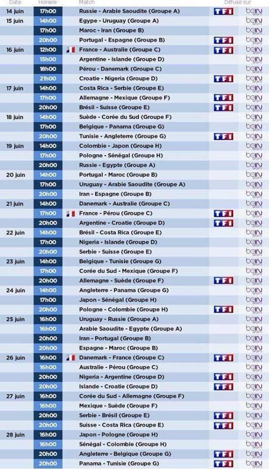 Calendrier coupe du monde 2018 avec r ponse s - Date coupe du monde 2018 ...