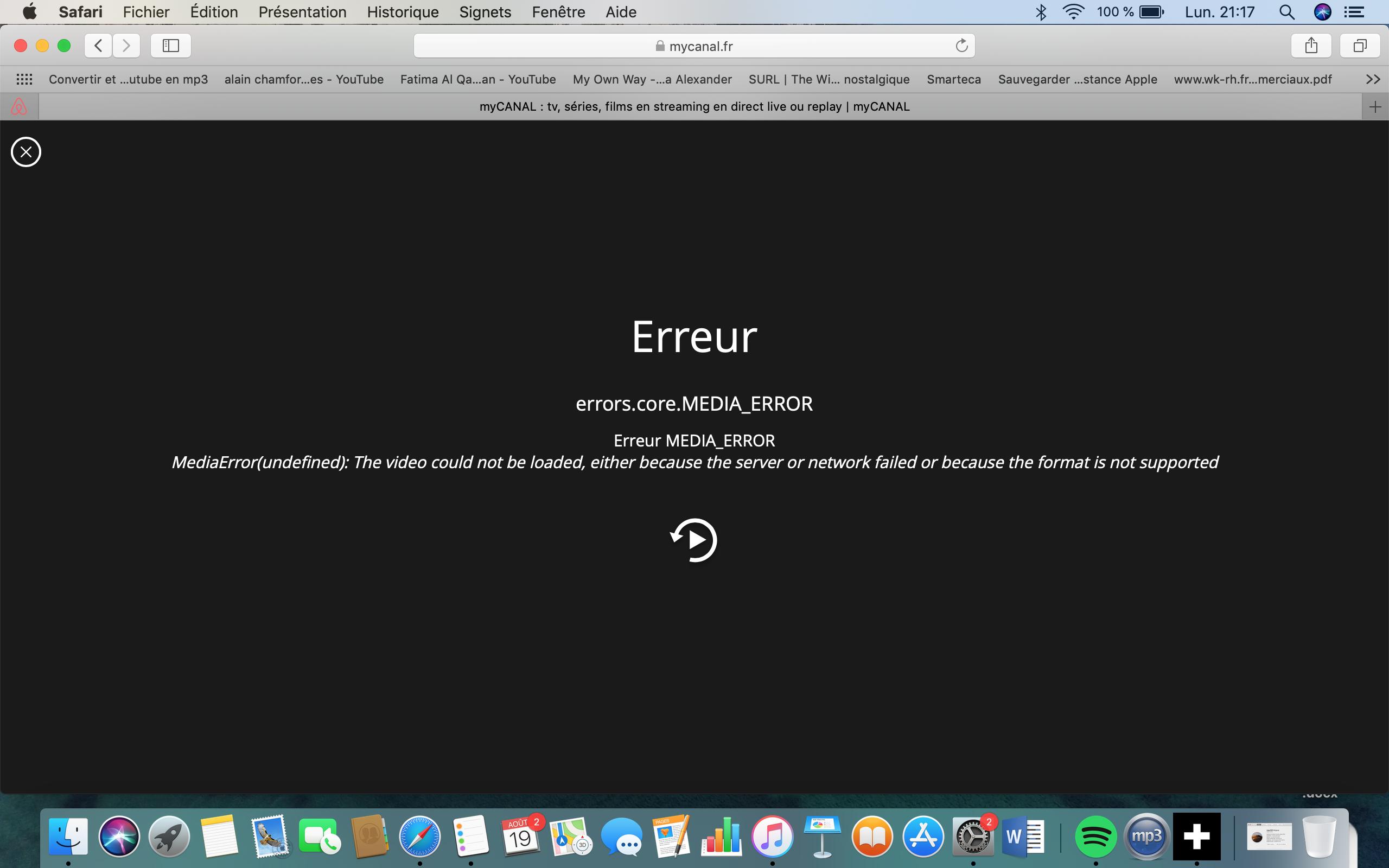 message d'erreur streaming Mac OS - Avec Réponse(s)