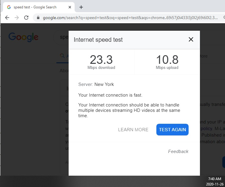 Internet (60 Mbps download) showing as being at half speed ...