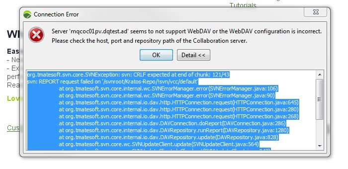Why am i getting Server 'xxxxxx' seems to not support WebDAV